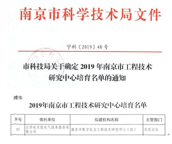 热烈祝贺我司被列入2019年南京市工程技术研究中心培育库